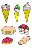 Pastries cakes and ice cream icon set Royalty Free Stock Images