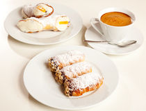Pastries and coffee cup Stock Photos