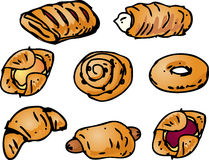Pastries illustration. Assorted pastries and sweet baked breads illustration Royalty Free Stock Photos