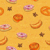 Pastries seamless pattern. Donuts. Buns. Croissants. Vector illustration. Stock Images