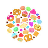 Pastries, sweets and candies vector circle background Stock Photography