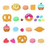 Pastries, sweets and candies vector set Royalty Free Stock Images