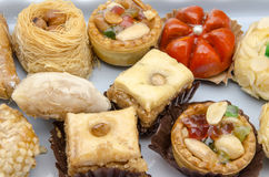 Pastries. Typical Oriental Pastries with honey and nuts Royalty Free Stock Photos