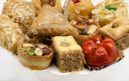 Pastries. Typical Oriental Pastries with honey and nuts Stock Photos