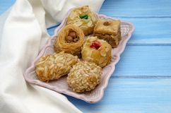 Pastries. Typical Oriental Pastries with honey and nuts Stock Photo