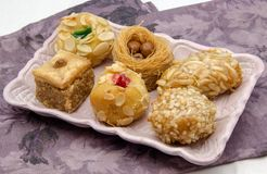 Pastries. Typical Oriental Pastries with honey and nuts Royalty Free Stock Photo