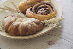 Pastries. Variety of homemade puff pastry buns. photo with copy space for text stock photos