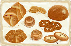 Pastry. Vector illustration of baked goods and bread products Royalty Free Stock Photo