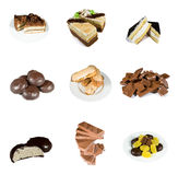 Pastry. Collection pastry isolated over white Royalty Free Stock Images