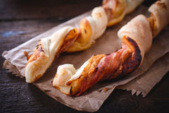 Pastry with bacon Royalty Free Stock Photos
