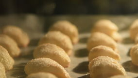 Pastry baked in the oven stock video footage