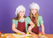 Pastry bakery we bake with passion. Little girls cooking sweet baked pastry dessert in kitchen. Adorable cooks preparing stock image