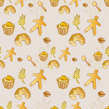 Pastry Bakery Croissant Seamless Pattern - Golden Colors Royalty Free Stock Images