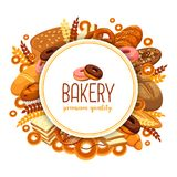 Pastry and bakery food for bakehouse badge. Bakery food in form of circle for bakehouse banner, baguette or baton, loaf of bread and rye pastry badge, butterbrot Stock Photo