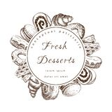 Pastry, bakery round label or frame with sweet desserts. bakeryhouse logo template. Pastry shop emblem. Patisserie
