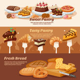 Pastry Banner Set Stock Photography