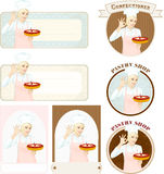 Pastry banners with beautiful woman confectioner with cake Royalty Free Stock Image