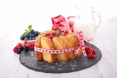 Pastry with berries and milk Royalty Free Stock Images
