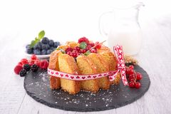 Pastry with berries and milk Stock Photos