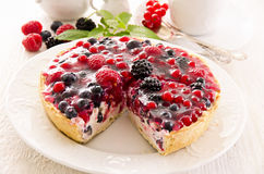 Pastry with Berries. Pastry with quark and berries as closeup on a white plate stock images