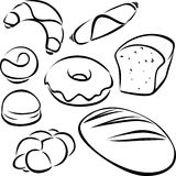 Pastry black outline. On white background Royalty Free Stock Photos
