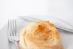 Pastry borek fork knife service Royalty Free Stock Photos