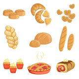 Pastry And Bread Bakery Assortment Set Of Isolated Icons Stock Images