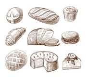 Pastry and bread decorative icons set Royalty Free Stock Photos
