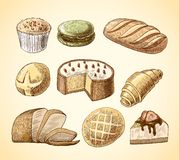 Pastry and bread decorative icons set Royalty Free Stock Photo