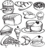 Pastry Bread Doodle. Doodle illustration of pastry breads. cakes, pizza and ice cream Royalty Free Stock Image