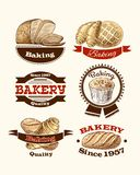 Pastry and bread labels. Bread cup cake and croissant pastry vintage bakery food labels vector illustration Stock Photo