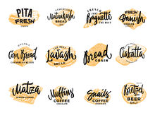 Pastry And Bread Logotypes Set. With hand drawn bakery products of different national cuisines isolated vector illustration Stock Photography