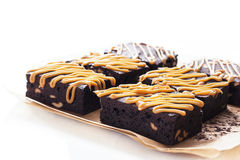 Pastry: Brownie. Chocolate Cake with caramel Stock Image