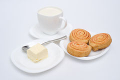Pastry with butter and milk Stock Images