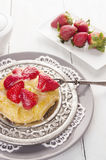 Pastry cake with strawberries and pudding Royalty Free Stock Photos