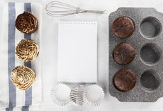 Pastry cakes : chocolate muffins with cream. Space for text Stock Image