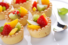 Pastry cakes with fruit Stock Photos