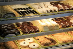 Pastry case at bakery Royalty Free Stock Photos