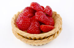 Pastry cases with picked strawberries Royalty Free Stock Photo
