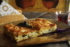 Pastry with cheese. And turkish tea Stock Images