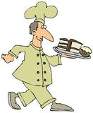 Pastry Chef. This illustration depicts a chef carrying a plate of desserts Royalty Free Stock Images