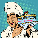 Pastry chef with birthday cake Royalty Free Stock Photography