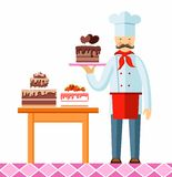 Pastry chef with cake, colored picture. The pastry chef demonstrates chocolate cake with hearts. On the table there are still two cakes. Vector picture. Color Stock Photo