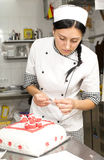 Pastry chef decorates a cake Royalty Free Stock Images