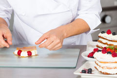 Pastry chef decorating Stock Images