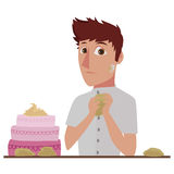 Pastry chef. Image of a cartoon pastry chef molding the dough Stock Photo