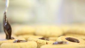 Pastry chef prepare chocolate cookies stock video