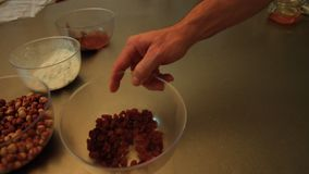 A pastry chef is preparing ingredients for traditional cakes 9 FDV stock video