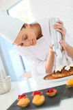 Pastry chef preparing a tart Stock Image