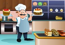 Chef serving sweet cake on bakery background